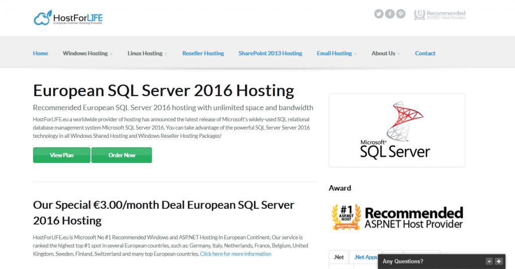 hostforlife sql server hosting