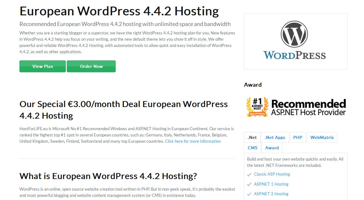 hostforlife wordpress 4.4.2
